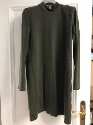 Zara Woman Vestido de manga larga verde oliva Viscosa