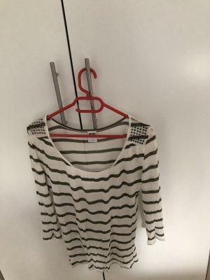 Oliv-weiß gestreiftes Shirt mit Details