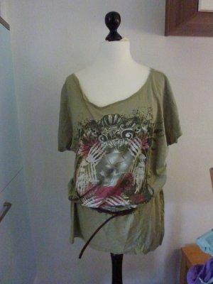 olive farbenes Print Shirt