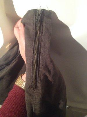 olive grüne High-Waist-Hose mit Seiten Reißverschluss