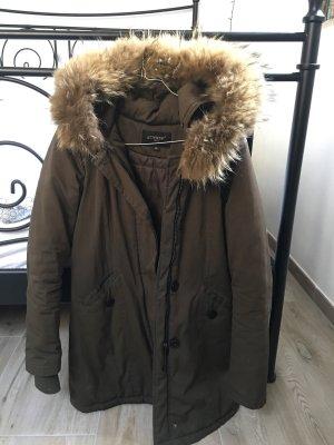 Attentif Abrigo de invierno taupe-verde oscuro