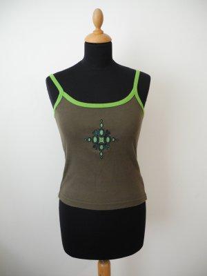 olive Stickerei grün khaki neon Trägershirt Tärgertop Träger Shirt Baumwolle only