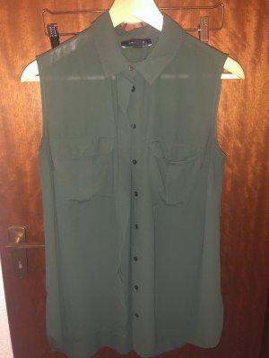 Olivefarbene Bluse ohne Ärmel