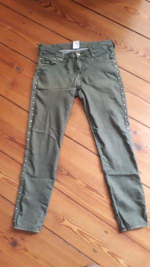 H&M 7/8-broek olijfgroen Katoen