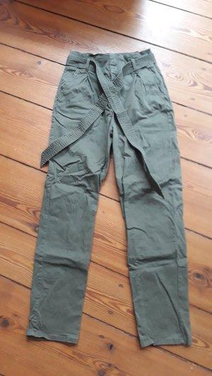H&M Pantalón de cintura alta verde Algodón