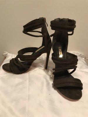 Sandalo con cinturino e tacco alto verde oliva