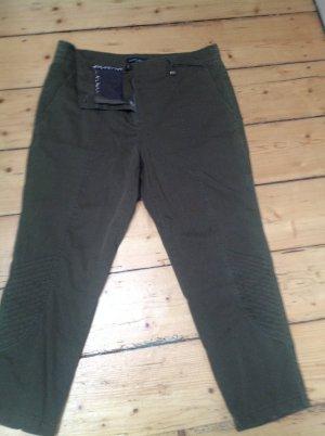 Marc Cain Pantalón de color caqui verde oscuro Algodón