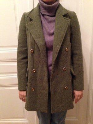 Zara Manteau d'hiver gris vert-vert olive coton