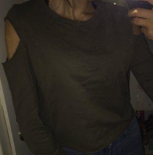 Olivfarbenes shirt mit zwei Cuts an den Schultern