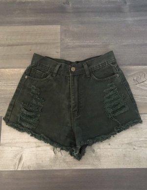 Olivgrüne Jeans-Shorts in Größe XS