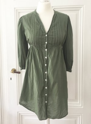 Olivgrüne / Khaki Longbluse / Blusenkleid mit hellen Nähten NEU