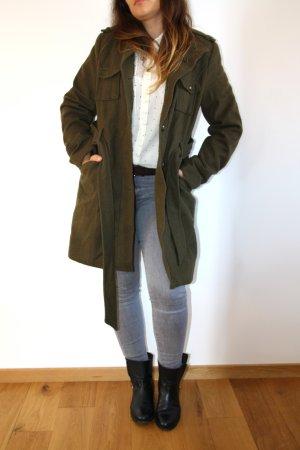 Manteau en laine vert foncé laine