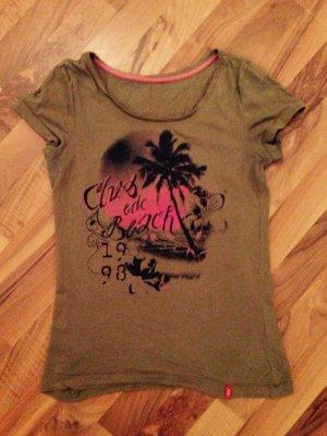 Olivgrünes EDC-T-Shirt mit Palmendruck