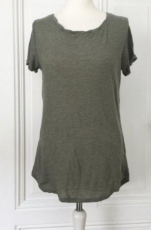 Olivgrünes Shirt / Longtop von Amisu mit verspielten Details an Armen und Kragen