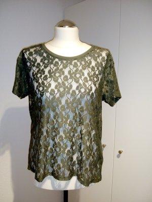 Olivgrünes  Spitzen Shirt
