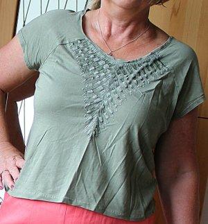 Olivgrünes T-Shirt mit Stickerei