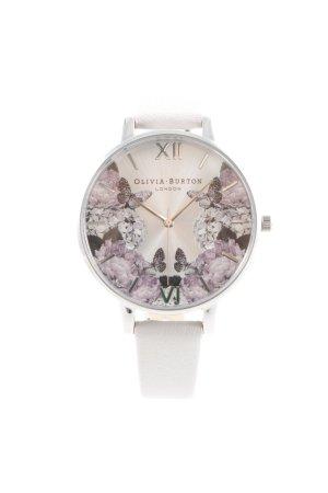 Olivia Burton Uhr mit Lederarmband hellbeige florales Muster Casual-Look