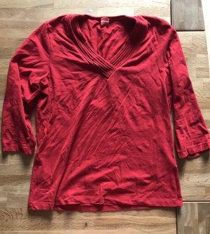 Olsen T-shirt col en V rouge foncé