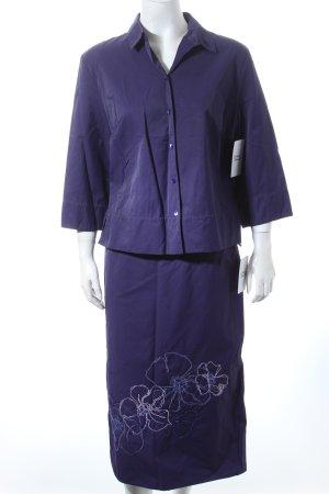 Olsen Kostüm dunkelviolett Blumenmuster Business-Look
