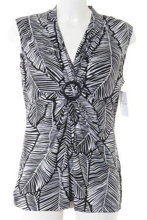 Olsen Kurzarm-Bluse schwarz-weiß florales Muster Casual-Look