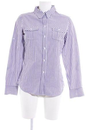 Olsen Langarmhemd weiß-dunkelviolett Streifenmuster Business-Look