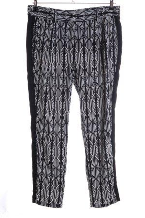 Olsen Pantalón de lino negro-blanco estampado repetido sobre toda la superficie