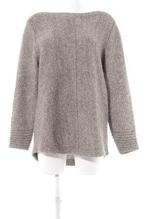 Olsen Rundhalspullover beige-grau Lochstrickmuster schlichter Stil