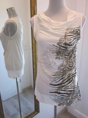 Olsen Shirt Weiss Beige Gold Gr 40