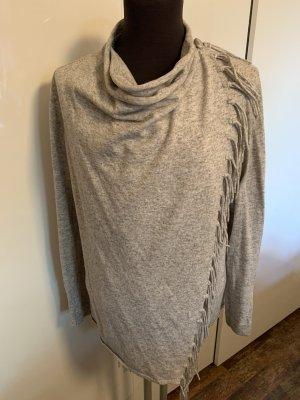 Olsen Strickjacke Pullover Fransen Grau Gr. M-L Top
