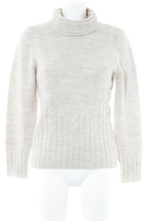 Olsen Strickpullover beige Webmuster Casual-Look