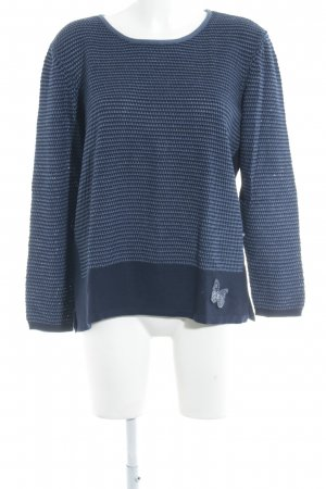 Olsen Strickpullover dunkelblau-stahlblau Webmuster Casual-Look