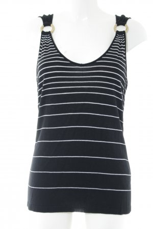 Olsen Knitted Top black-white striped pattern elegant