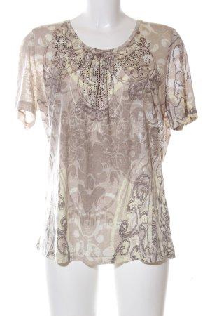 Olsen T-Shirt creme-braun abstraktes Muster Casual-Look