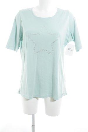 Olsen T-Shirt mint-silberfarben Sternenmuster Casual-Look