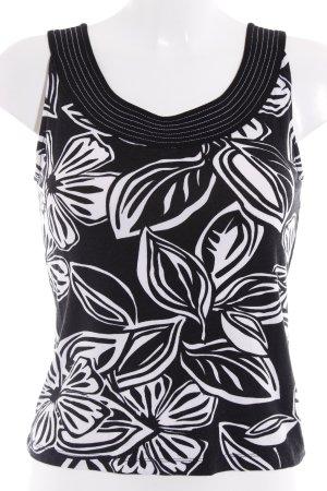 Olsen Tanktop schwarz-weiß florales Muster