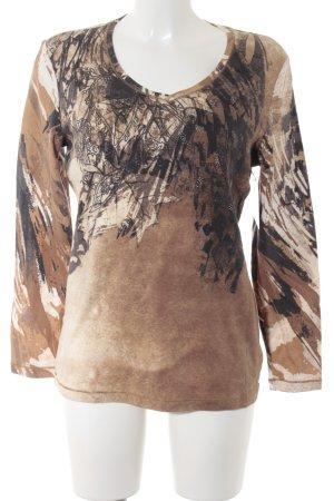 Olsen V-Ausschnitt-Shirt abstraktes Muster Casual-Look