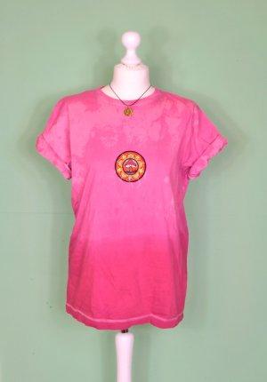 Ombré Shirt mit Aufnäher / Patch Pilz Psychedelic