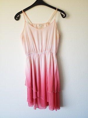 Ombre Volant Kleid in rosa und pink