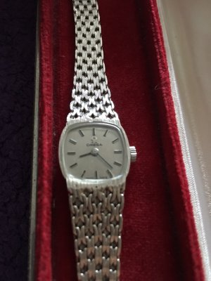 Omega Analog Watch silver-colored real gold