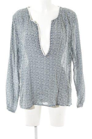 Once Langarm-Bluse stahlblau-weiß abstraktes Muster Casual-Look