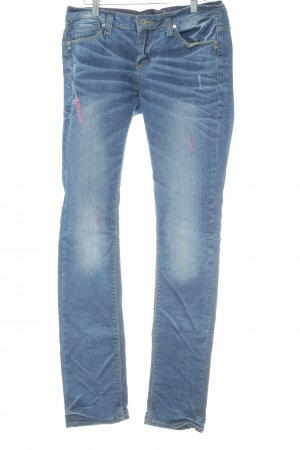 One green elephant Low Rise Jeans dark blue distressed style