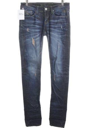 One green elephant Slim Jeans blau Washed-Optik