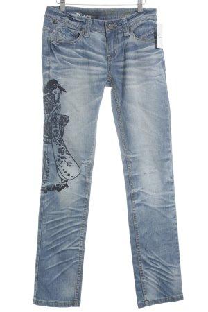 One green elephant Slim Jeans stahlblau-dunkelblau Destroy-Optik