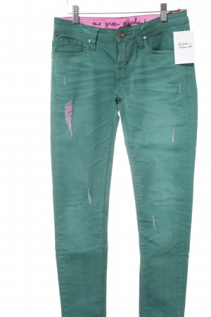 One green elephant Slim Jeans waldgrün-pink Casual-Look