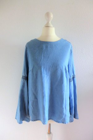 One more story Bluse Oberteil Langarm Boho Hippie Jeans blau Gr. 36 S neu