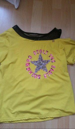 Camisa de un solo hombro negro-amarillo