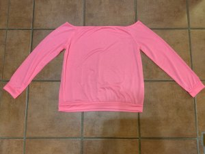 One Shoulder Shirt pink-neon pink cotton
