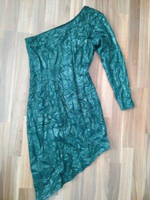 One Shoulder asymmetrisches Kleid grün Crinkle Optik Vintage Dress