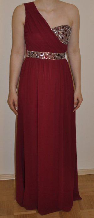 One-Shoulder bodenlanges Kleid mit Pailletten