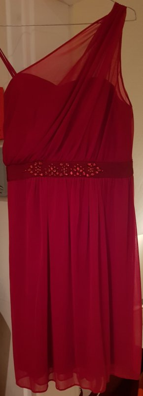 Adrianna Papell One Shoulder Dress dark red-bordeaux